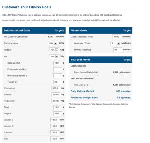 customize fitness goals